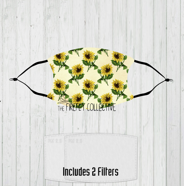 Vintage Sunflower Non-Medical Mask with Black Straps & Filters Sublimated