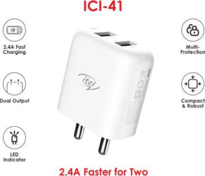 ITEL 2USB 2.4A FASTER CHARGING CHARGER KIT ICI-41