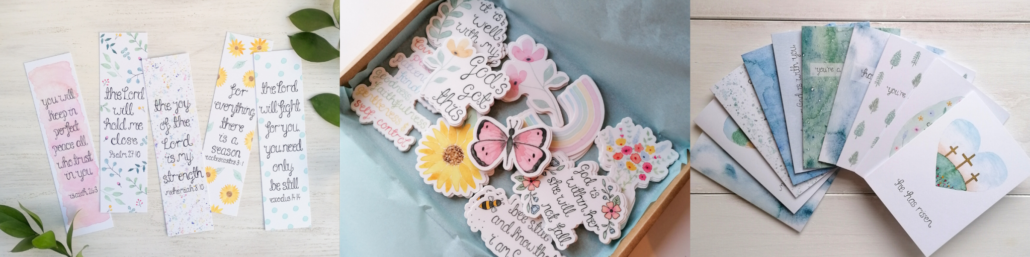 wholesale image for Treasured creativity website, with images of bible verse bookmarks, christian encouragement cards and floral stickers, all available for wholesale from treasured creativity