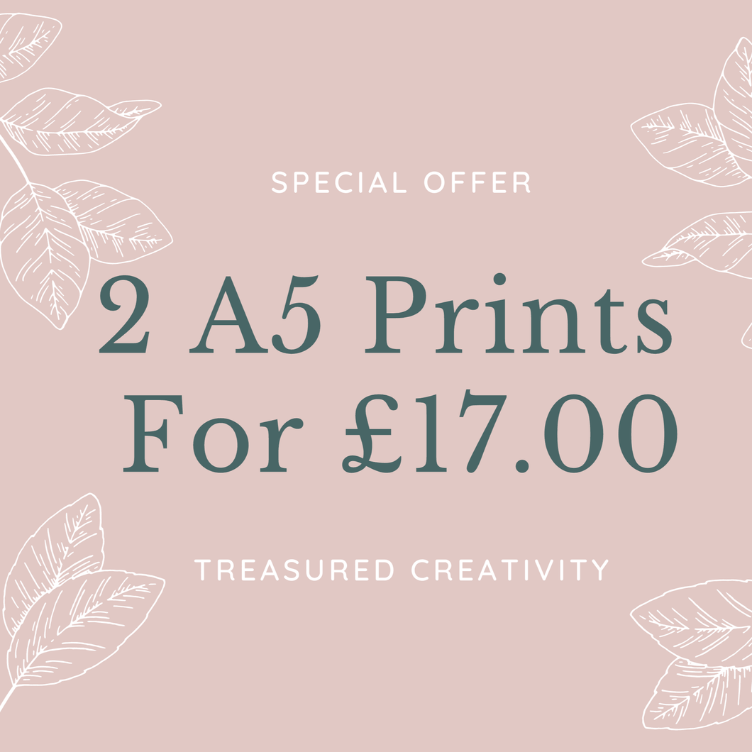 special offer for 2 a5 wall prints
