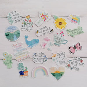 treasured creativity's collection of bible verse stickers and floral stickers