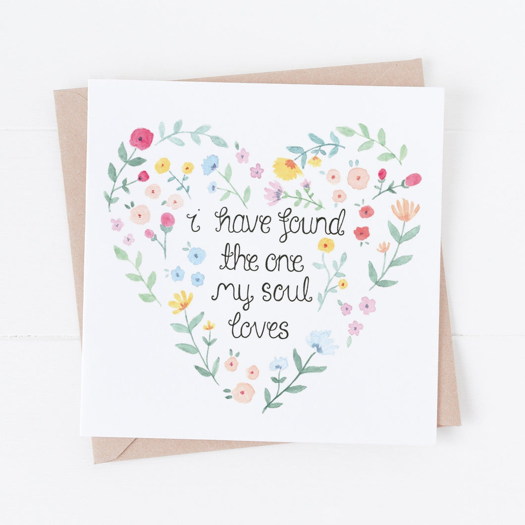 I have found the one my soul loves floral heart card