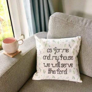 as for me and my house leafy cushion design