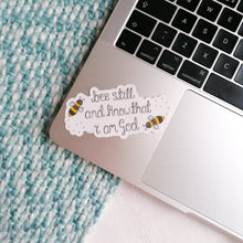 Load image into Gallery viewer, bee bible verse vinyl sticker on laptop