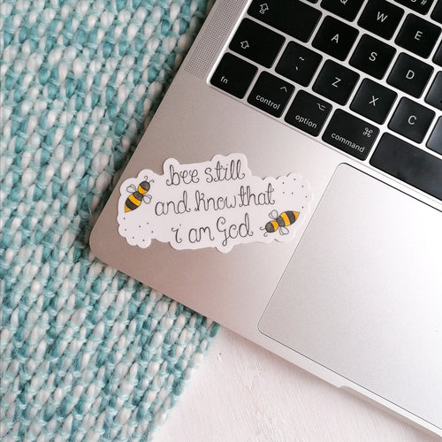 bee bible verse vinyl sticker on laptop