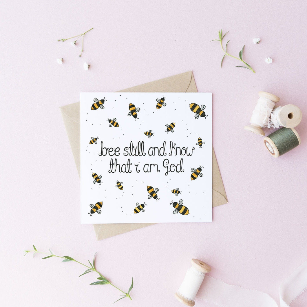 bee still and know card bumble bee