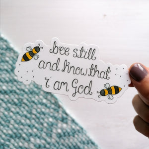 psalm 46 10 bible verse sticker with bumble bees