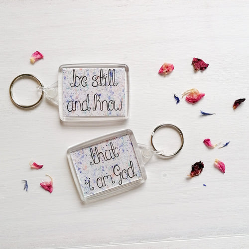 be still and know that i am god bible verse keyring