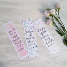 Load image into Gallery viewer, three hand painted bookmarks with bible verses