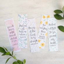 Load image into Gallery viewer, set of 5 bible verse bookmarks with watercolour flowers