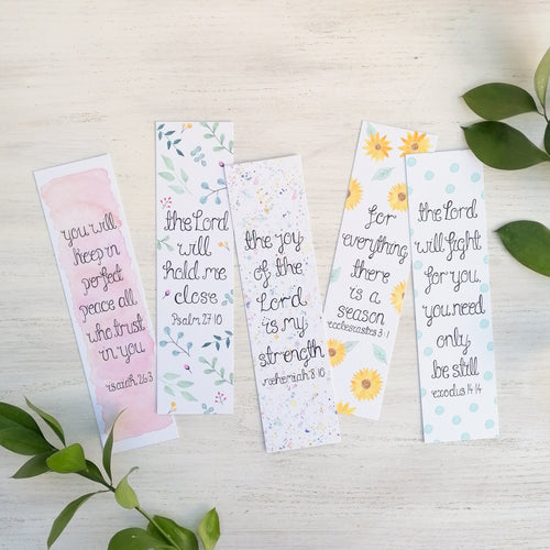 set of 5 bible verse bookmarks with watercolour flowers