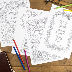 Floral Bible Verse Colouring Sheets - Pack Of 4 - Includes Crayons/Felt Tips
