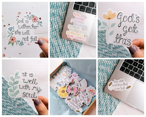 set of 5 encouraging bible verse stickers