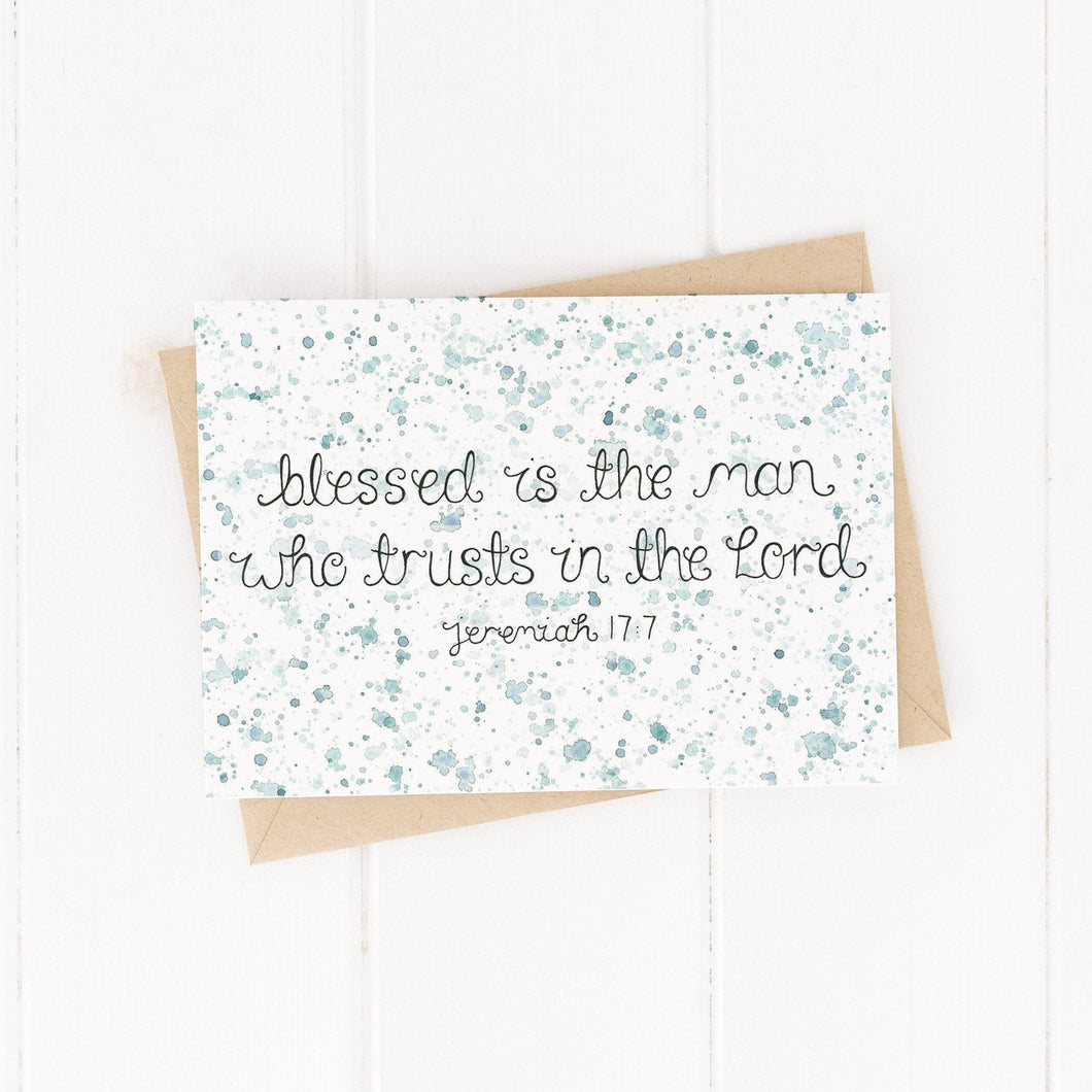 bible verse card for him with the verse blessed is the man who trusts in the lord