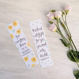 sunflower and blue dot bible verse bookmarks