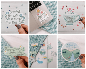 an assortment of christian bible verse illustration stickers by treasured creativity