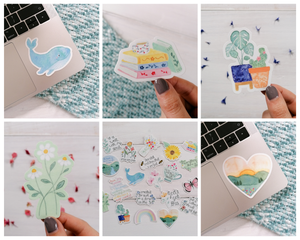 an assortment of cute illustration stickers, from whales to house plants to books to sunsets and daisy stickers