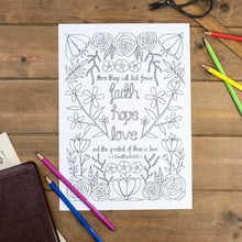 Load image into Gallery viewer, faith hope love colouring in sheet