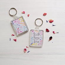 Load image into Gallery viewer, faith hope love bible verse keyring