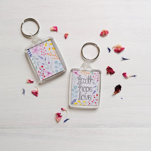 faith hope love bible verse keyring