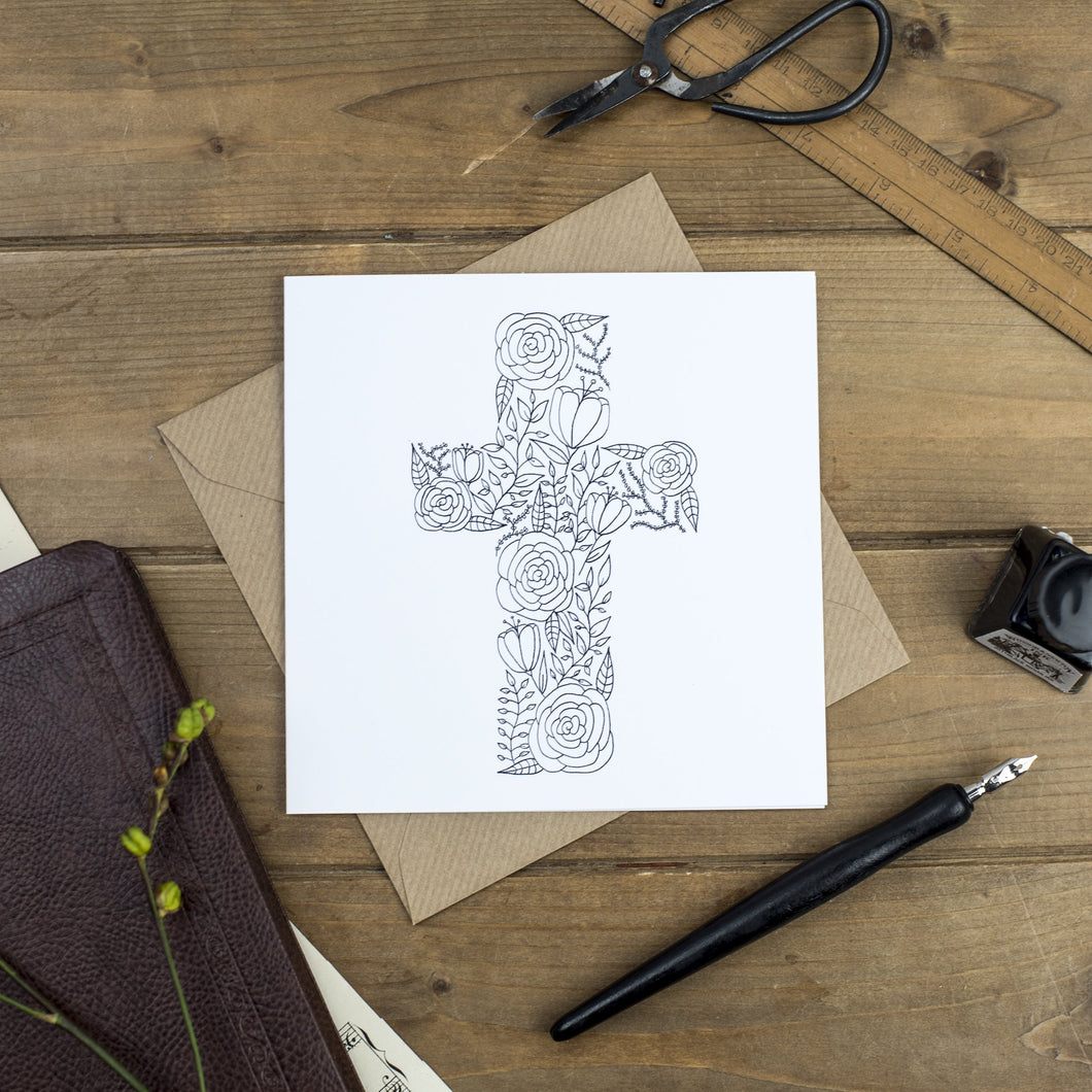 Black and white floral cross greetings card