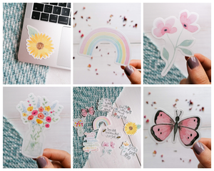 set of 5 floral and pastel viynl stickers
