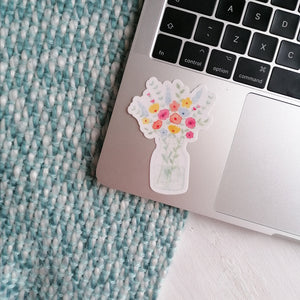 floral vinyl sticker on laptop