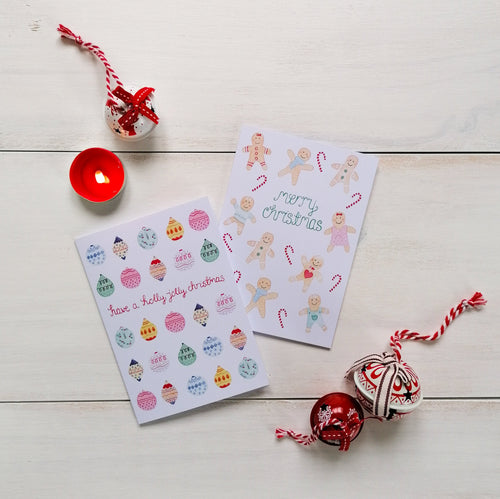 pack of 8 bauble and gingerbread pattern christmas cards
