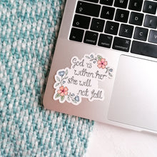 Load image into Gallery viewer, bible verse vinyl sticker with flowers