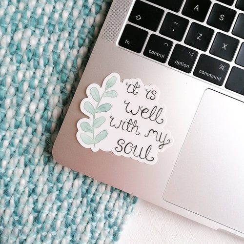 it is well with my soul sticker on laptop