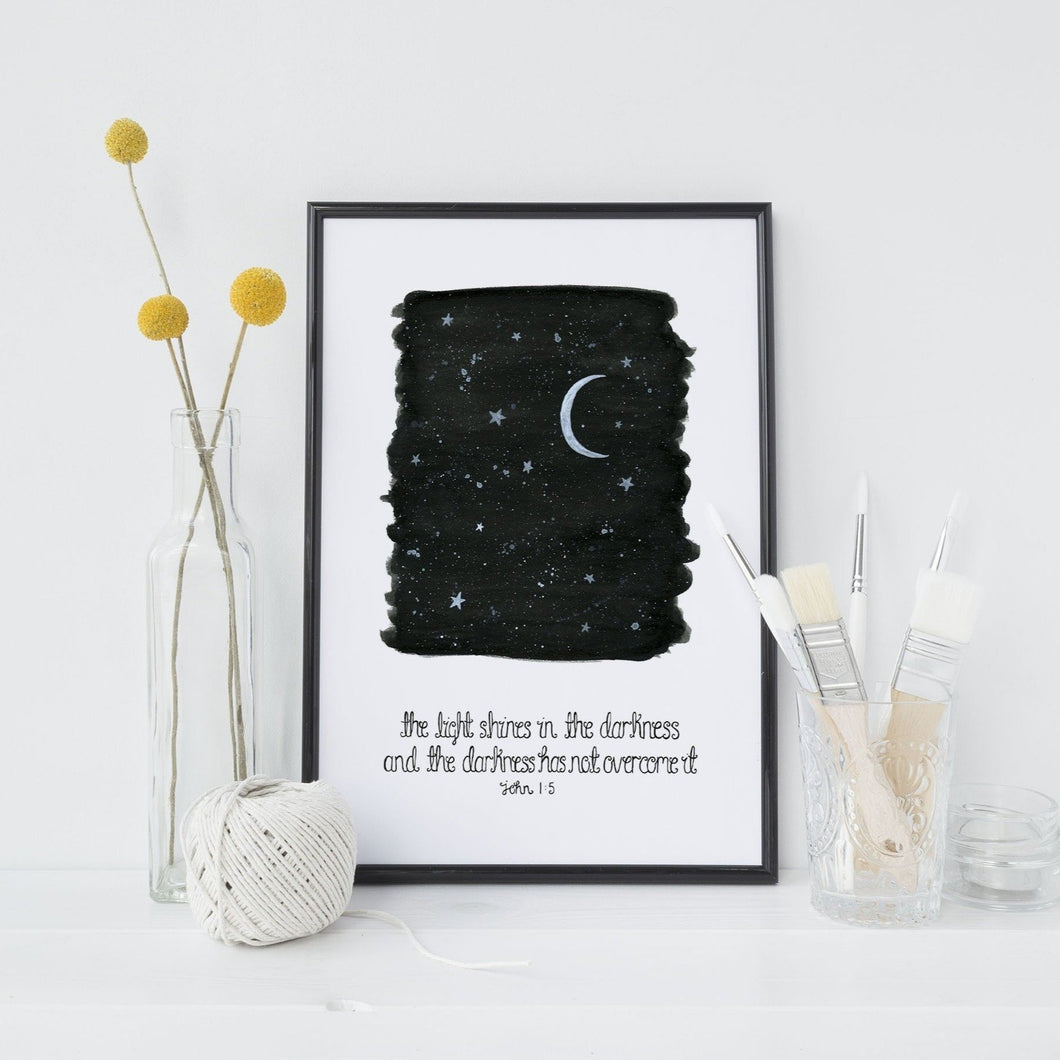 The Light Shines In The Darkness Print - John 1:5
