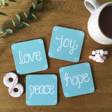 Load image into Gallery viewer, love joy peace hope blue coaster set