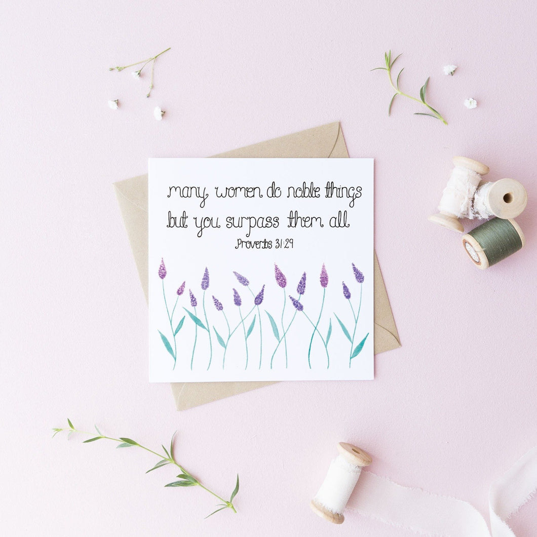 many women do noble things proverbs 31:29 card
