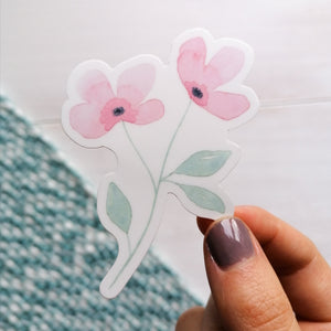 pink flower vinyl sticker