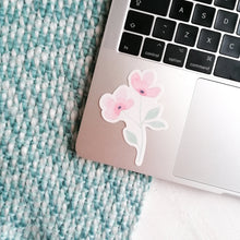Load image into Gallery viewer, pink flower sticker on laptop