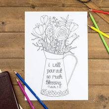 Load image into Gallery viewer, pour out blessing floral colouring sheet