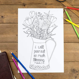 pour out blessing floral colouring sheet