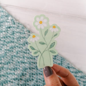 green daisy sticker for laptop or journal