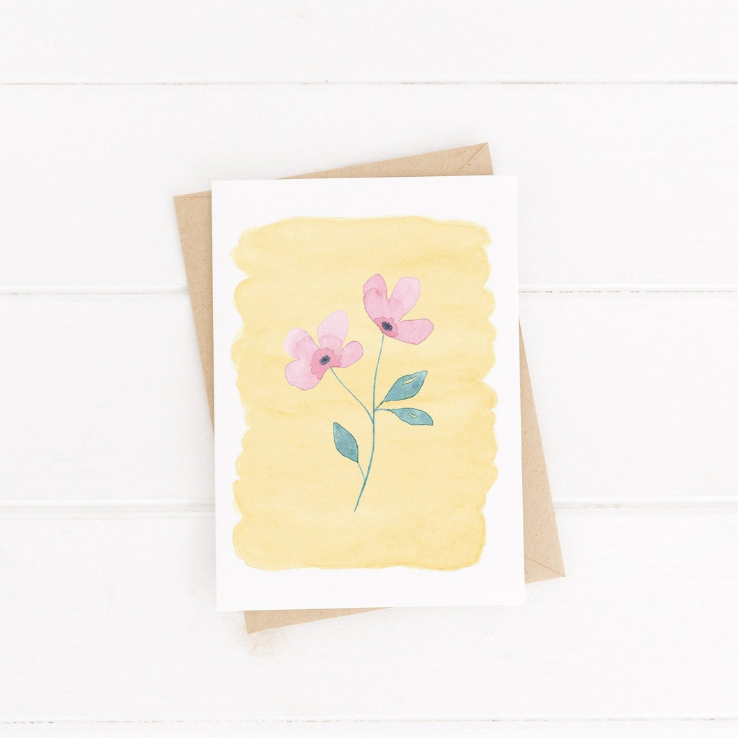 pink flower greetings card with  yellow watercolour background