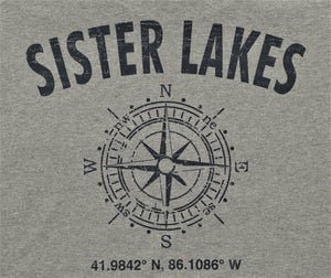 Sister Lakes Compass Coordinates T-Shirt (2 Colors)