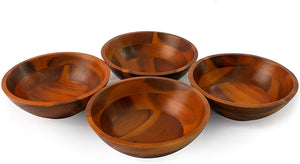 7 Inches Acacia Wooden Salad Bowls - Set of 4 - Vedessi