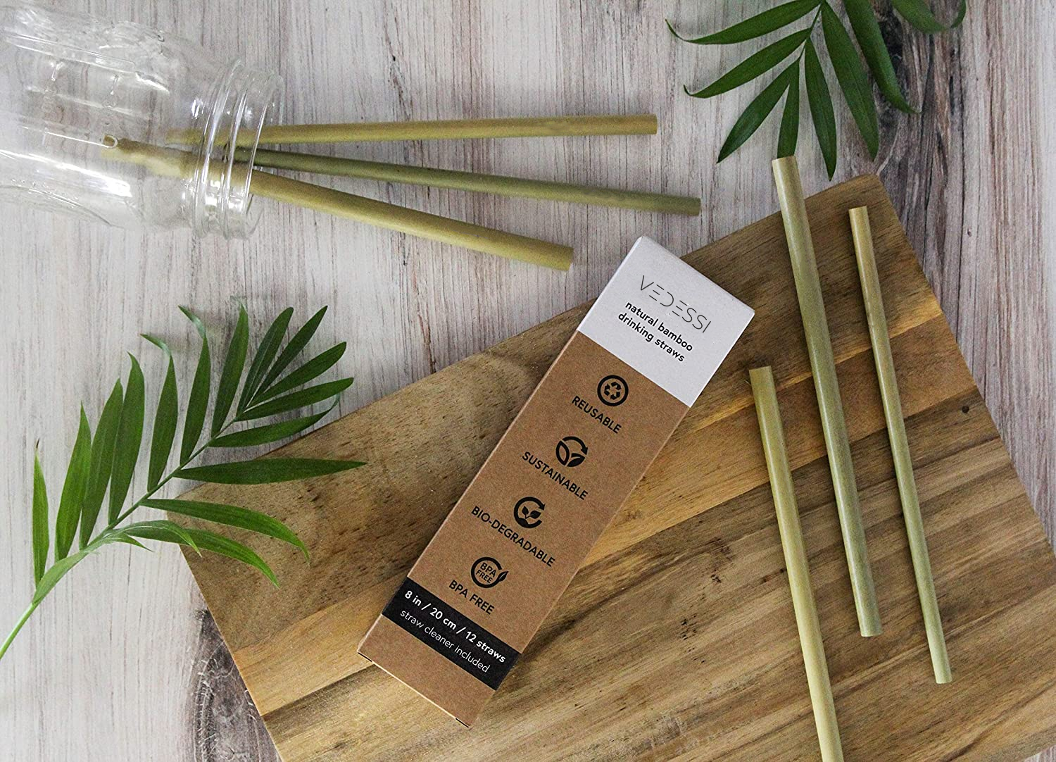 Organic Bamboo Reusable Straws - 10 pc - Vedessi