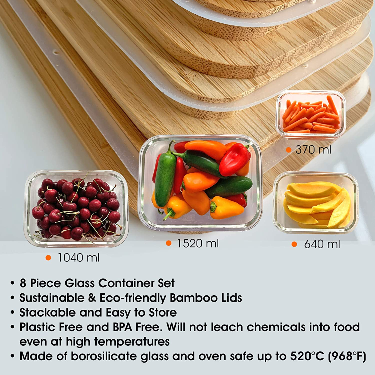 Glass Food Storage Containers with Bamboo Lids - 4 pc set - Vedessi