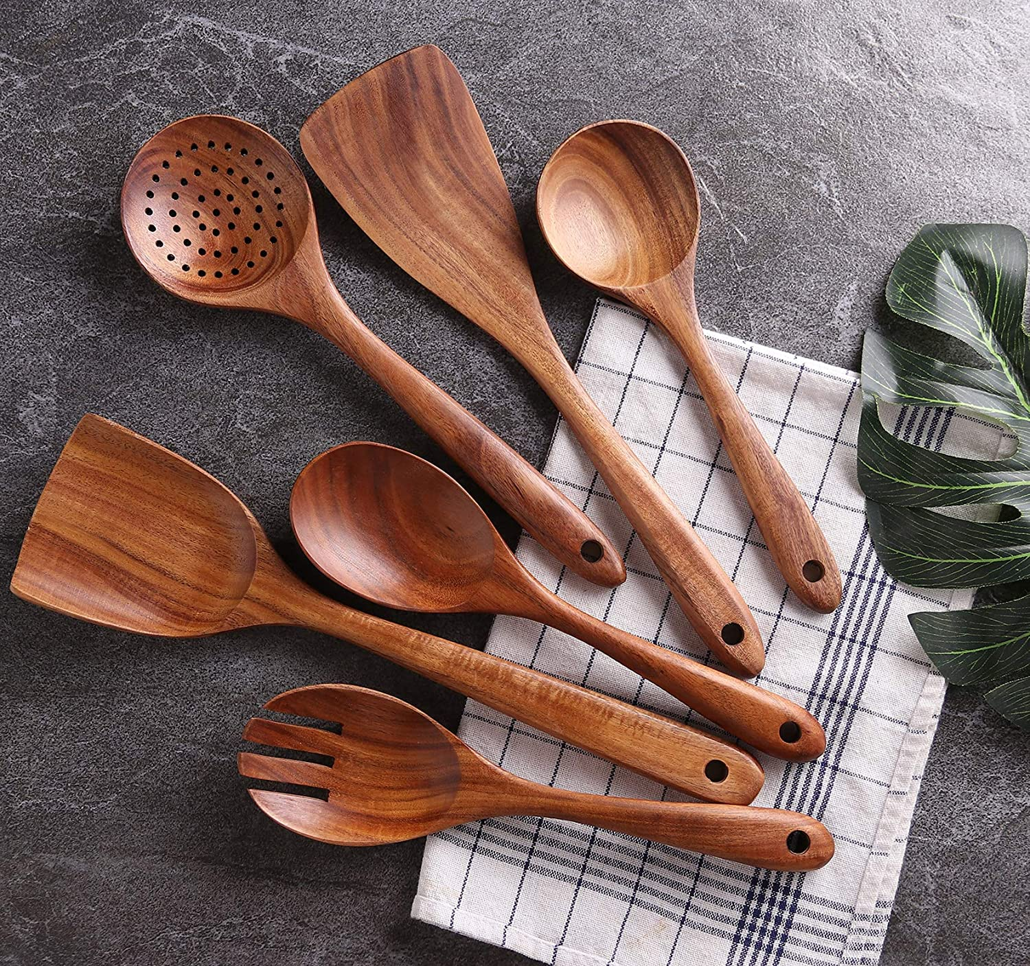 Wooden Kitchen Utensils Set - 6 Pc - Vedessi