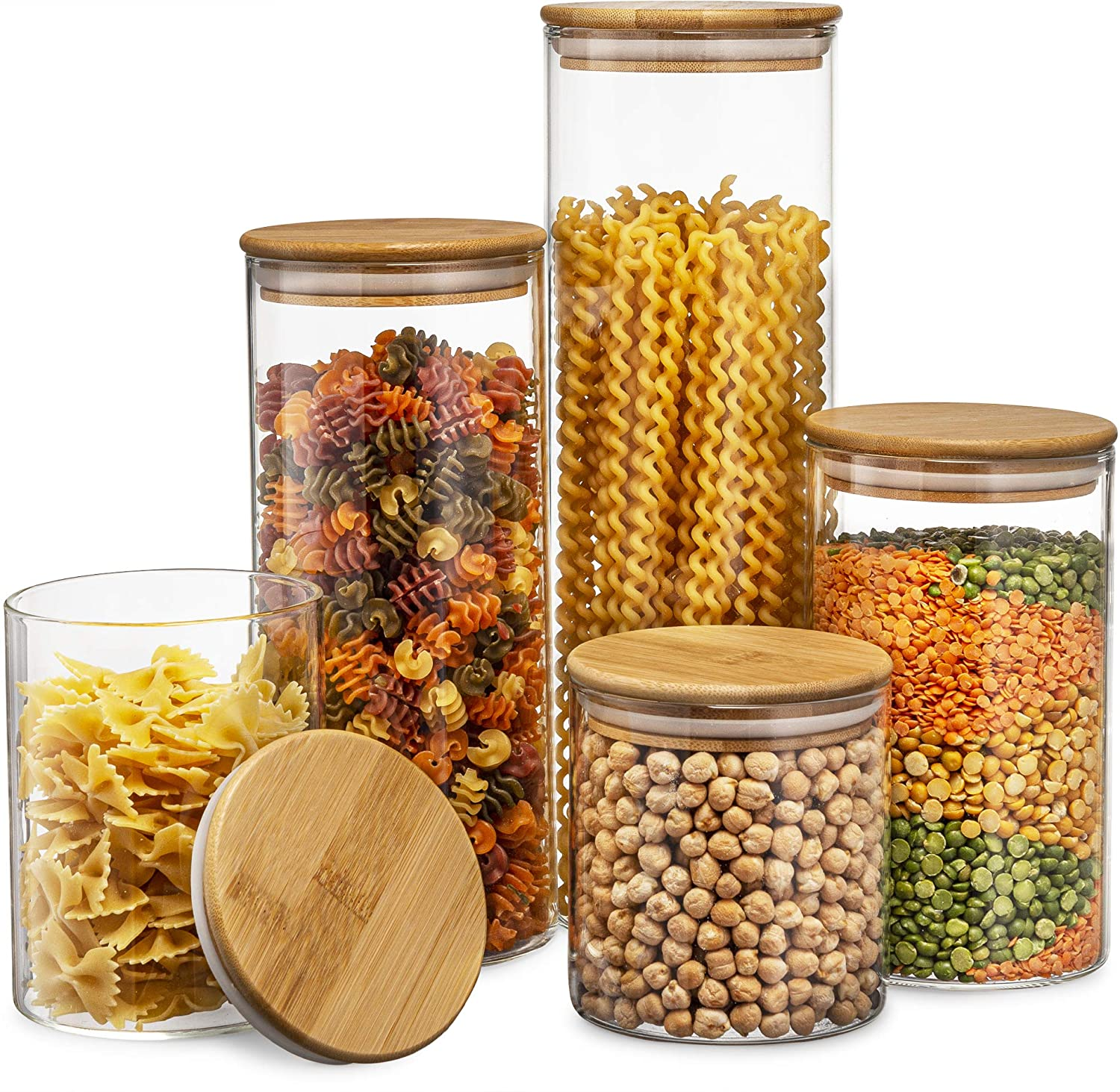 Glass Kitchen Canisters with Airtight Bamboo Lid - Set of 5 - Vedessi