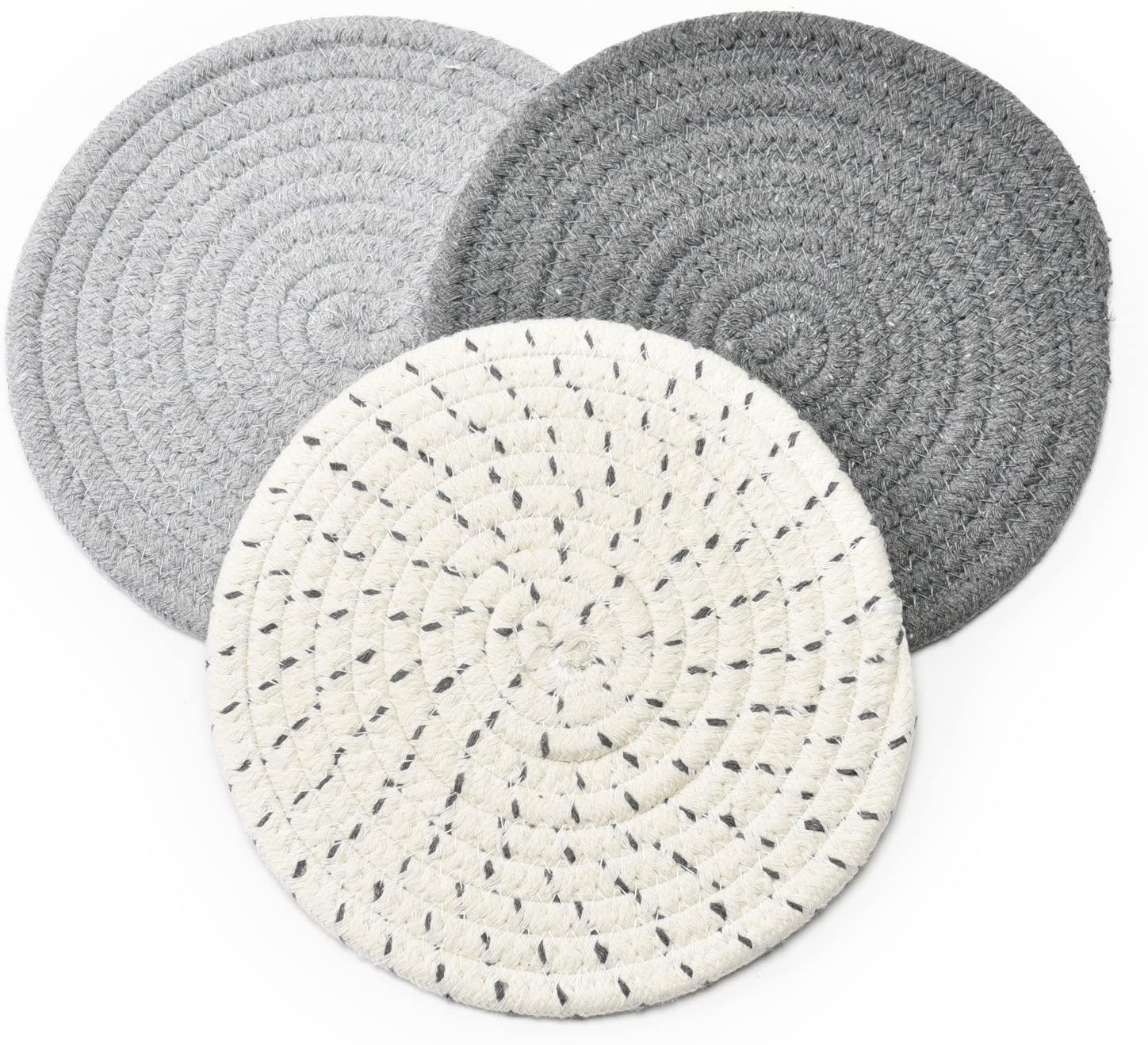 Potholders Set Trivets Set 100% Pure Cotton - (Set of 3) Stylish Coasters - Vedessi