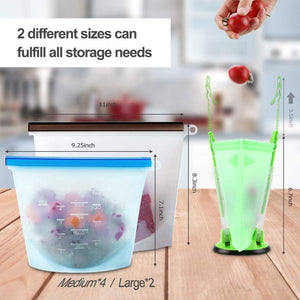 Reusable Silicone Food Storage Bags - Set of 6 - Vedessi
