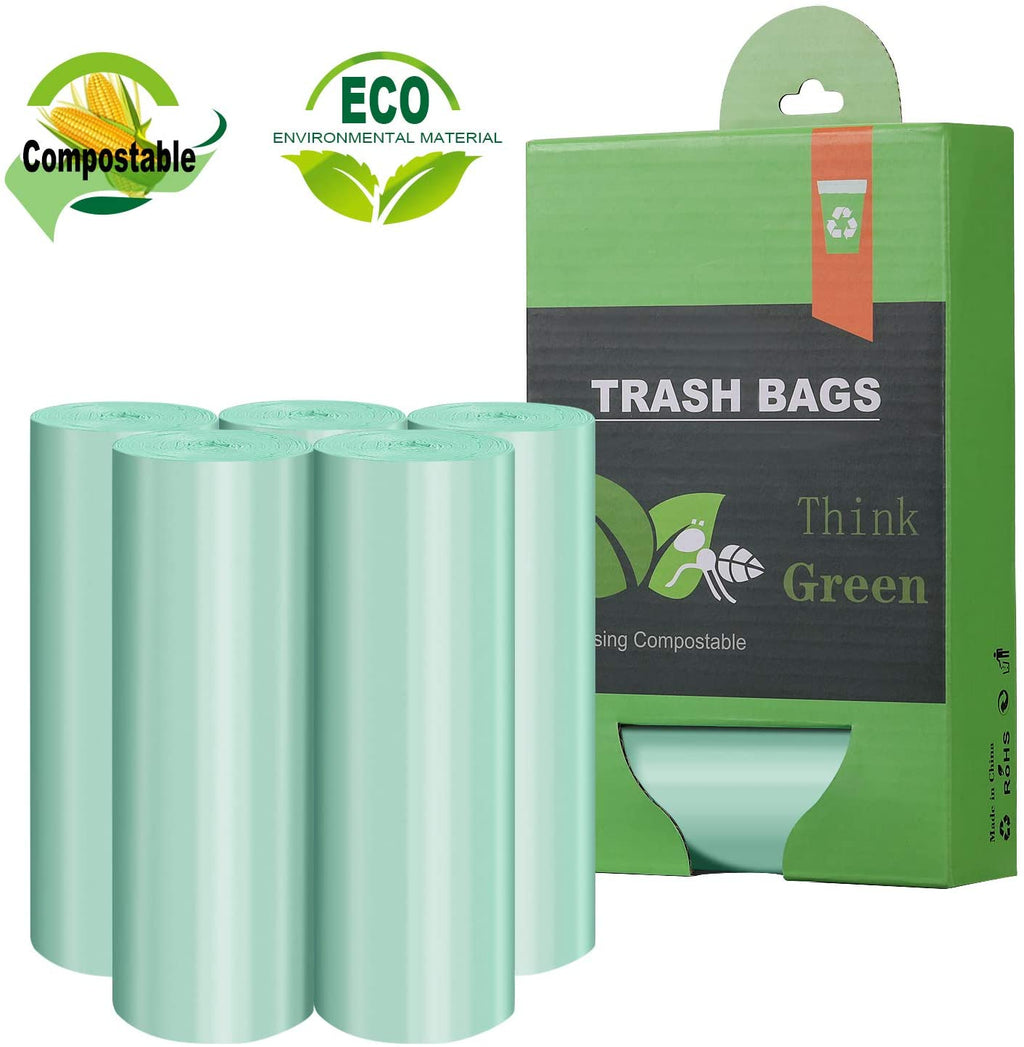 Compostable Heavy Duty Unscented Tall Kitchen Trash Bags - 60 Bags (13 Gallon) - Vedessi