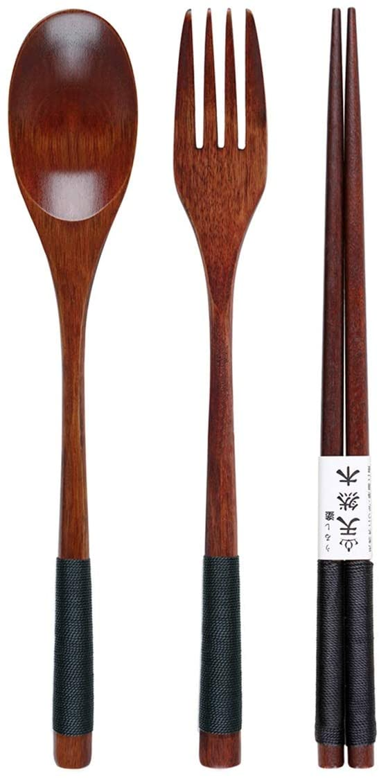 Wooden Cutlery Set - Fork | Spoon | Chopsticks | Pouch - Vedessi