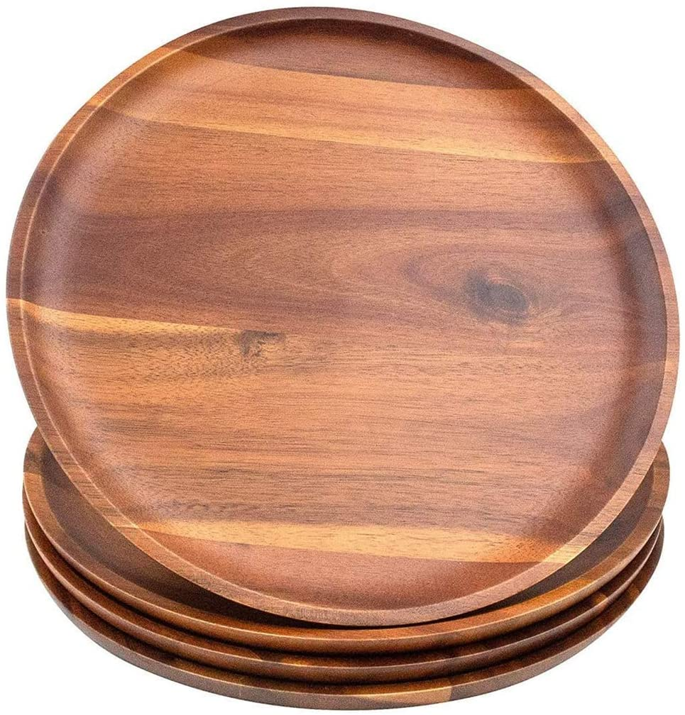 Acacia Wood Dinner Plates, 8 Inch Round Wood Plates Set of 4 - Vedessi